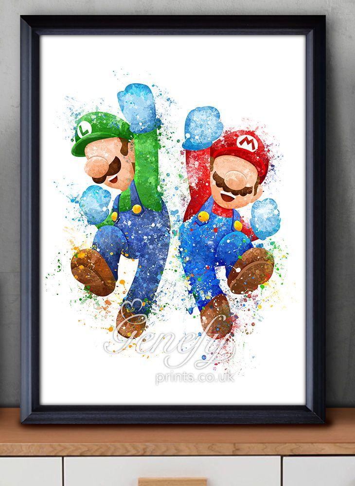 Super Mario Luigi Super Smash Bros Watercolor Painting Art Poster Print Wall Decor https://www.etsy.com/shop/genefyprints