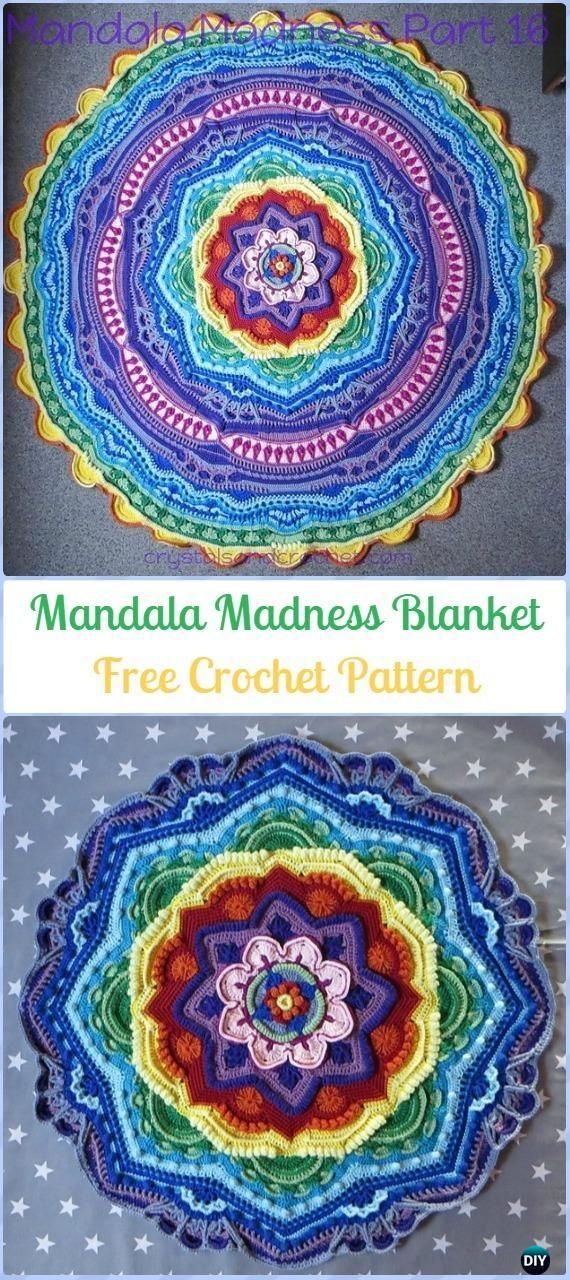 Crochet Mandala Madness Free Pattern-Crochet Circle Blanket Free Patterns