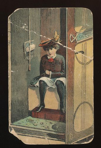 Old Risque Lady Sitting on Toilet Outhouse Antique 1900s Postcard as ...