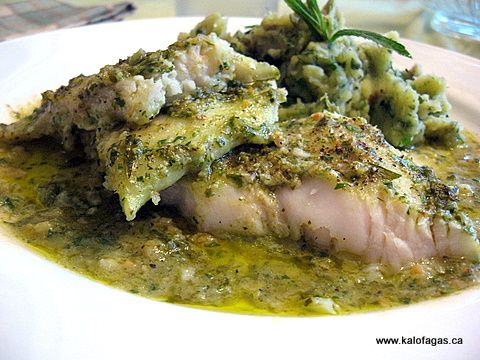 Baked Grouper With Prassini Saltsa and a Puree of Zucchini and Mint : kalofagas