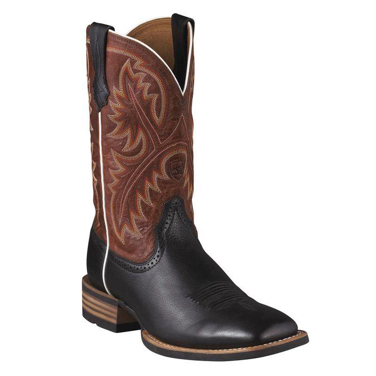 Ariat Men's Quickdraw Black Deer-Tan Square Toe Boots