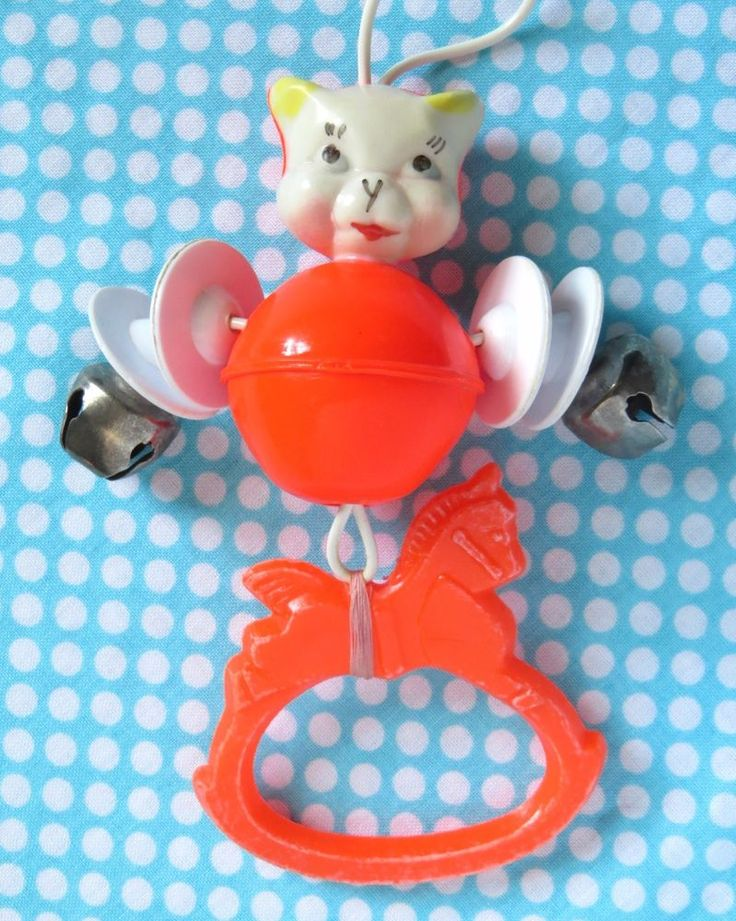 Vintage Baby Rattle Hard Plastic Cat Red Crib Toy with Horse Teether and Bells #Unbranded