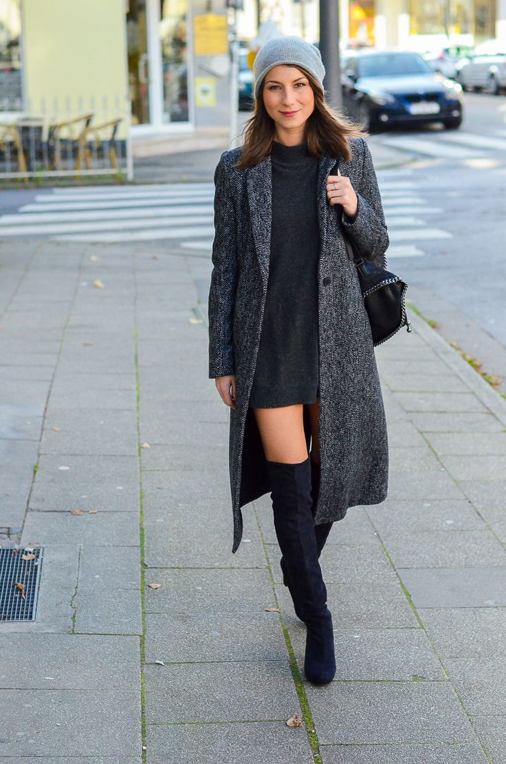 OUTFIT Zara Maxi Coat, black overknee boots, cashmere beanie, Stella McCartney falabella backpack