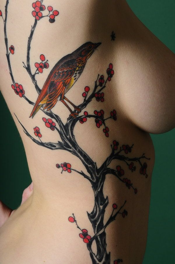 Birdie: Tattoo Ideas, Birds Tattoo, Side Tattoo, Trees Tattoo, Body Art, Tattoo'S, Blossoms Trees, Tattoo Design, Cherries Blossoms Tattoo