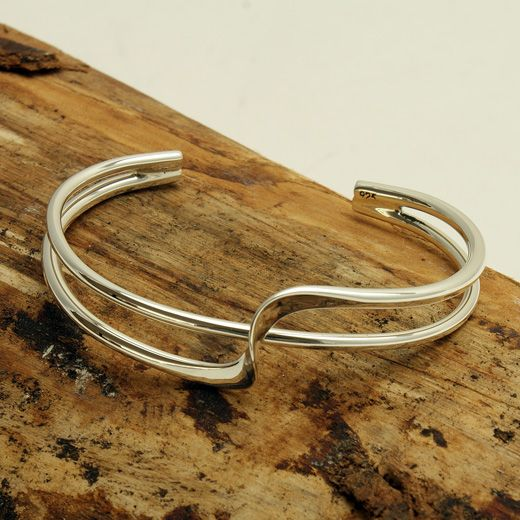 Andea Sterling Silver Double Twist Half Bangle - One of our most popular bangles, this Andea sterling silver double twist half bangle has a beautiful fluid sculptural feel. Understatedly elegant and simple, it will add a touch of elegance to any outfit.