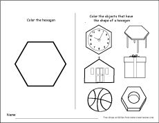 Six sided shapes: Fun hexagon shape activities for pre-schoolers and kindergarteners http://cleverlearner.com/shapes/hexagon-shape-activity.html