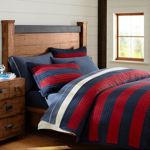 Rugby stripe quilt sham navy red rugby quilts and for Boys rugby bedroom ideas