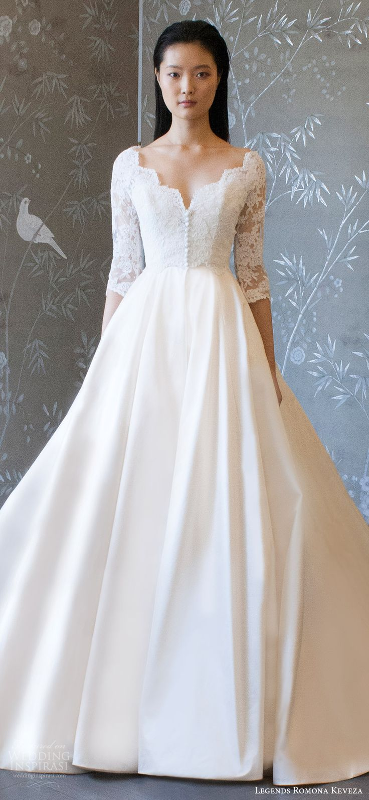 legends romona keveza spring 2018 bridal 3 quarter sleeves v neck lace bodice a line ball gown wedding dress (l8132) zv train romantic elegant -- Legends Romona Keveza Spring 2018 Wedding Dresses