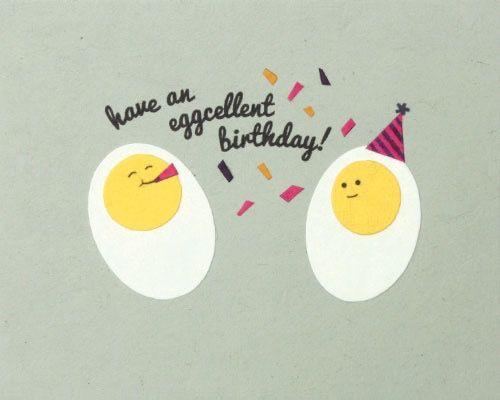 Birthday card pun eggs diy