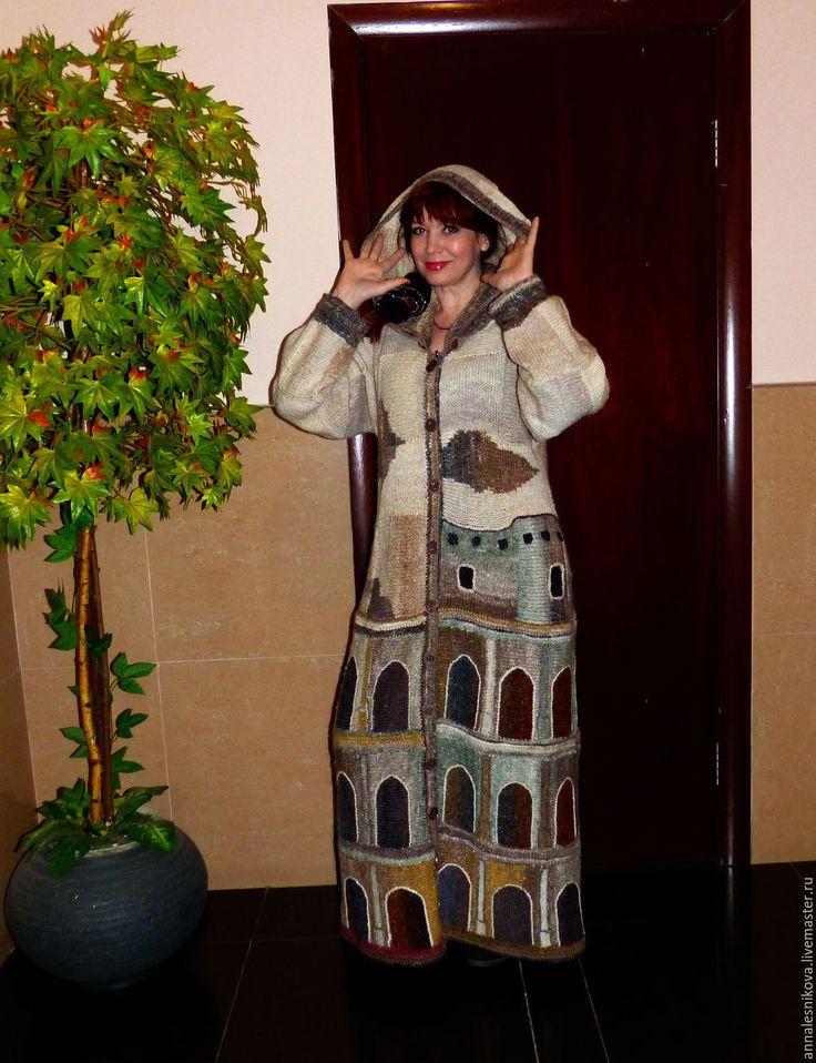 """Купить Пальто ручной работы """"КОЛИЗЕЙ"""" пряжа Норо - бежевый, рисунок, Анна…"""
