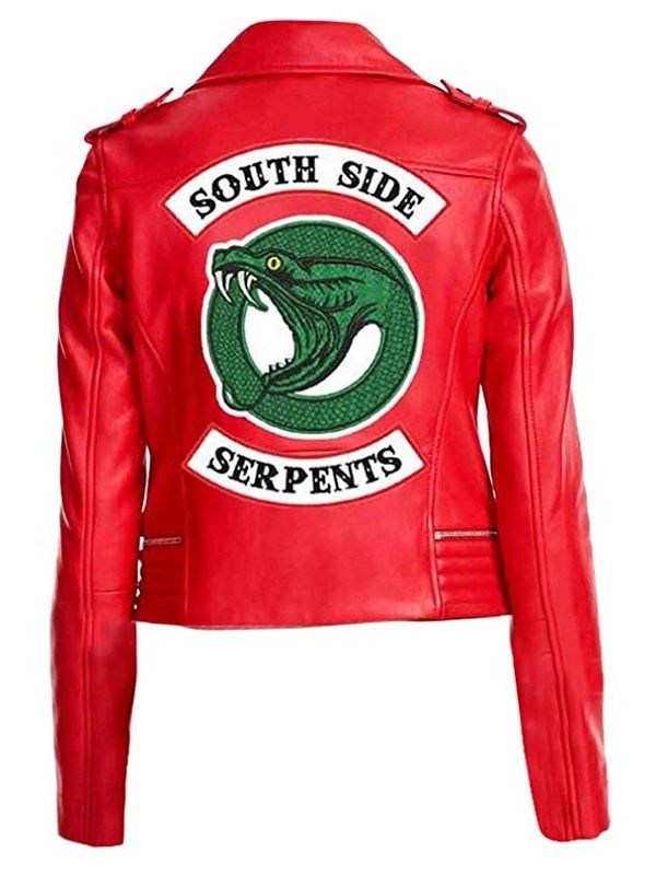 Riverdale Southside Serpents Embroidery Red Faux Leather Jacket The Sparks Up Inc