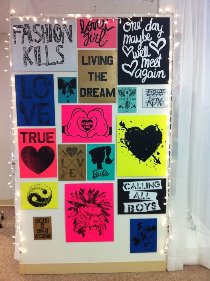 Graphics wall in our LA Market showroom…this is a super cute dorm room idea too!    We have the most talented peeps on our team!