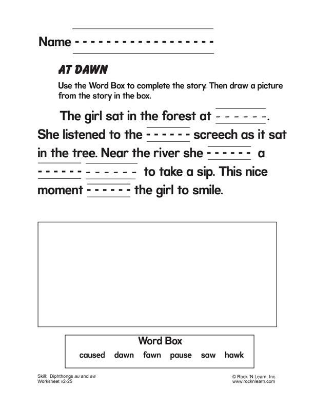 Diphthongs au and aw - Free Phonics Worksheet : Vowel ...