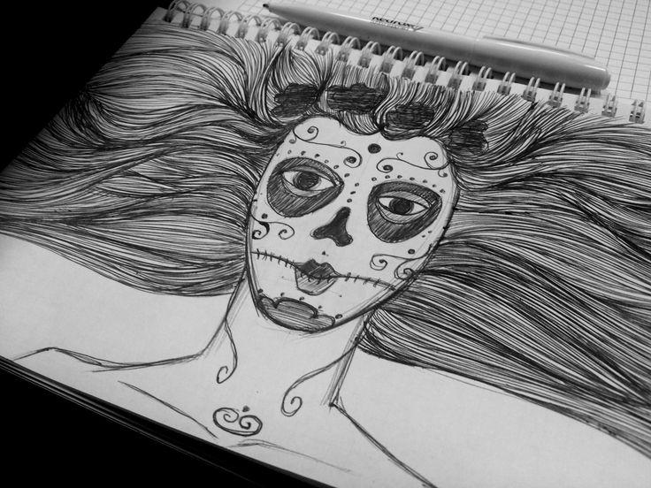 #girl#black&whitw#black#white#art#sketcj#pen#blackgirl#rose#art