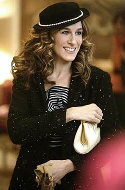 Carrie Bradshaw aka.Sarah Jessica Parker in her outfit as she arrives in