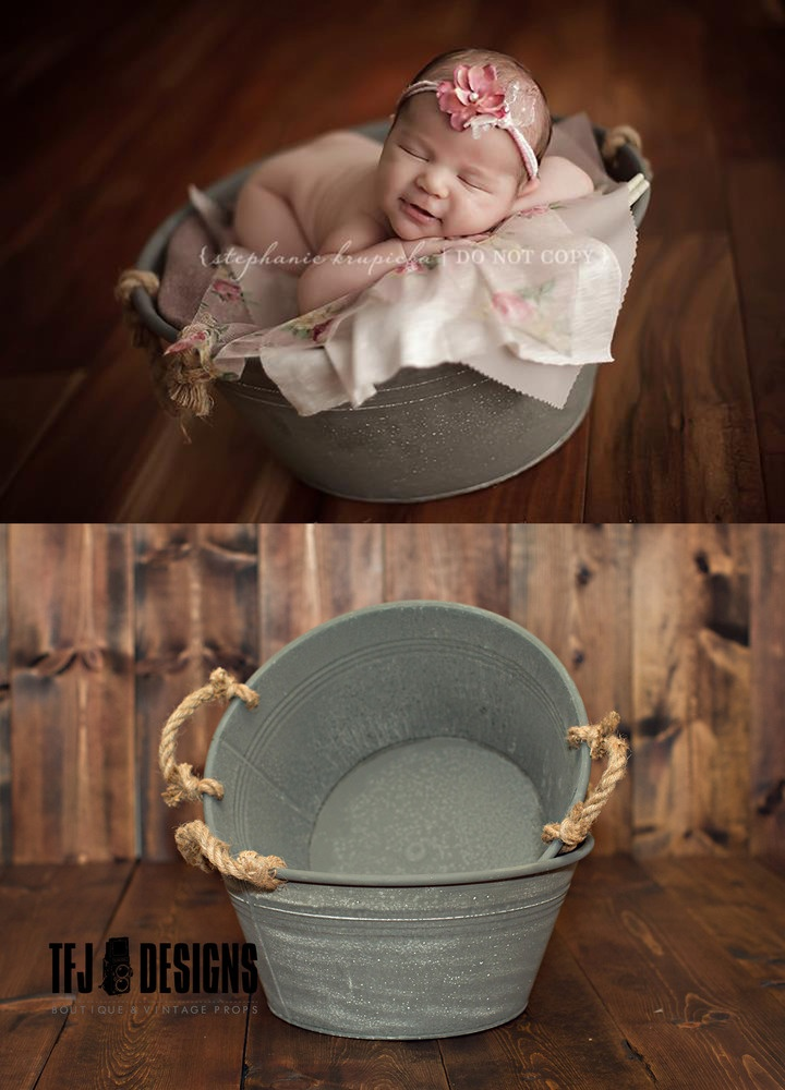 metal wash tub with rope handles vintage style bucket new photography prop by tfj. Black Bedroom Furniture Sets. Home Design Ideas