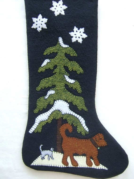Unique Wool Felt Stocking, Hand Appliqued, Dog and Cat Stocking, Christmas Decorations, Holiday Decor, Classic Embellished, One of a Kind