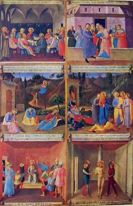 Beato Angelico: Armadio degli argenti - uno sportello dipinto  con sei narrazioni del Vangelo, 118 x 75 cm., Museo Nazionale di San Marco a Firenze