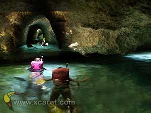 Xcaret,  went swimming in the underground caverns 2005