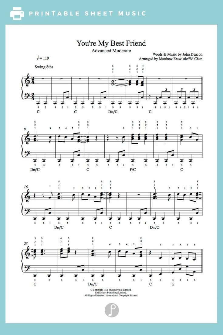 You Re My Best Friend By Queen Piano Sheet Music Advanced Level