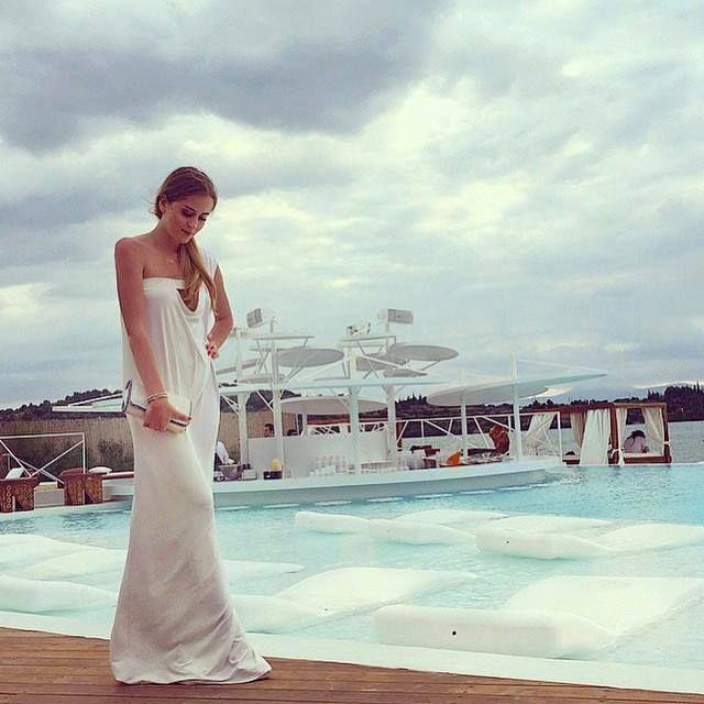 Romantic, free-flowing and event-ready in @Maraveya, Valentina Ferragni in Porto Heli at #NikkiBeach! #wecreateharmony #maraveya   Shop the maxi dress here:  http://www.wecreateharmony.com/designers/m-r/vivianna-maraveya/layla-dress-white.html