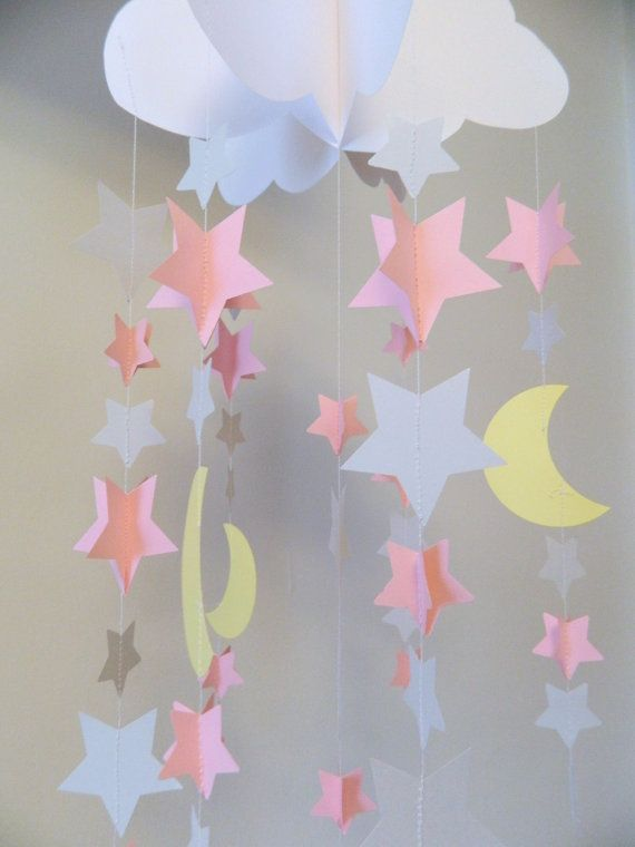 stars and moons paper mobile to the moon and back decorations baby shower decor pink and gray. Black Bedroom Furniture Sets. Home Design Ideas