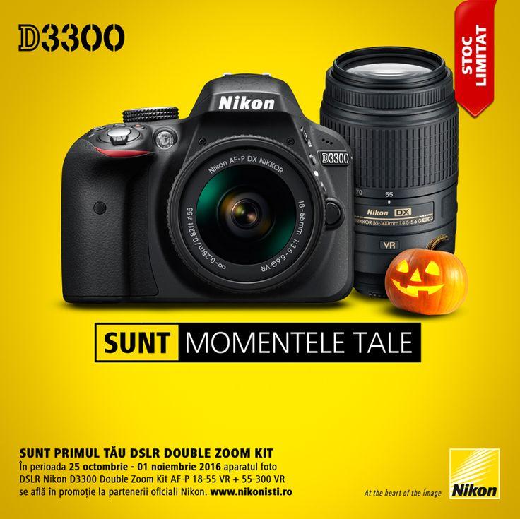 In perioada 25 octombrie - 01 noiembrie 2016 aparatul foto DSLR Nikon D3300 Double Zoom Kit AF-P 18-55 VR + 55-300 VR se afla in promotie la partenerii oficiali Nikon.