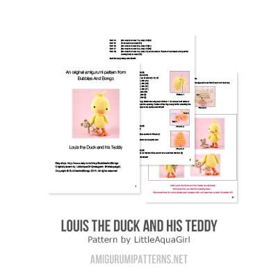 Louis the Duck and his Teddy amigurumi pattern by LittleAquaGirl