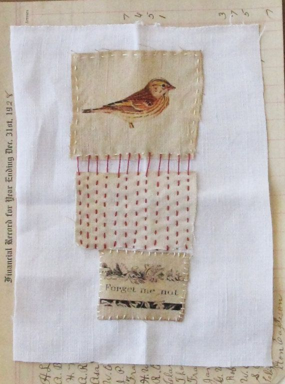 Art quilt patchwork embroidered stitched cloth by ColetteCopeland, $25.50