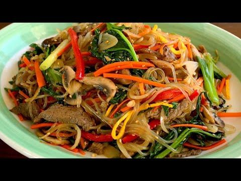 Japchae (Glass noodles stir-fried with vegetables: 잡채) - YouTube