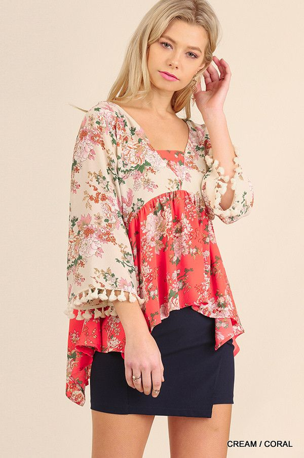 Floral Print Top with Tassel Sleeve Detail - Cream/Coral