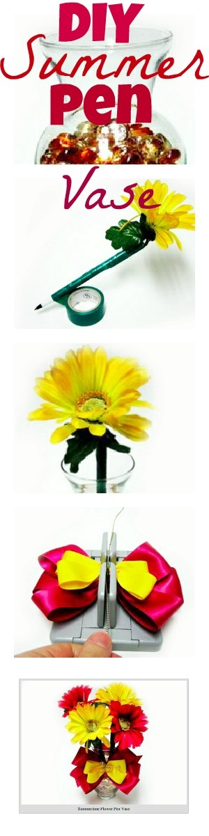 Love this DIY Summer Pen Vase. Time to freshen up my office desk! http://bowdabrablog.com/2012/06/12/summertime-decor-summer-vase-with-flower-pens/