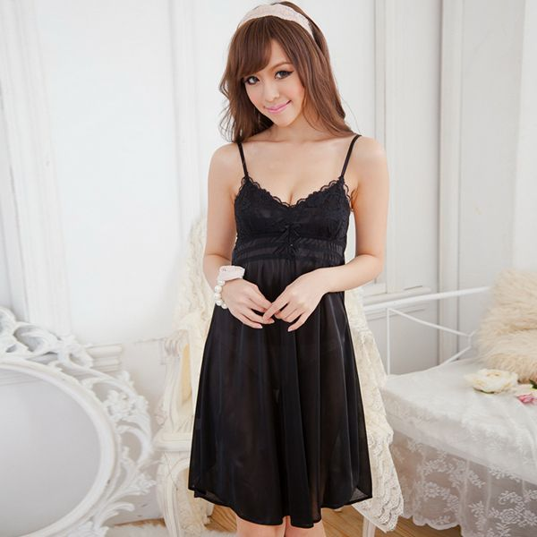 Fashion Women Lady Deep V Silk Suspender Nightwear Dress Sleepwear Shirts