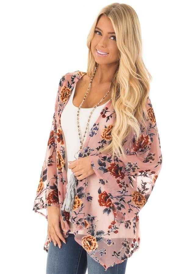 Lime Lush Boutique - Dusty Pink Chiffon Kimono with Velvet Floral Print, $58.99 (https://www.limelush.com/dusty-pink-chiffon-kimono-with-velvet-floral-print/)