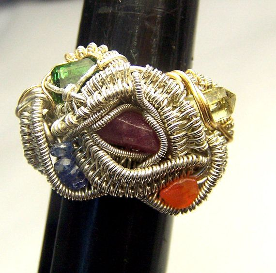 Wire wrapped Crystal and Gemstone ring  Sterling by mandalarain, $140.00: Wire Jewelry, Wire Rings, Crystals Gems, Gemstone Rings, Wire Ideas, Crystal Stuff, Weird Rings, Mandalarain