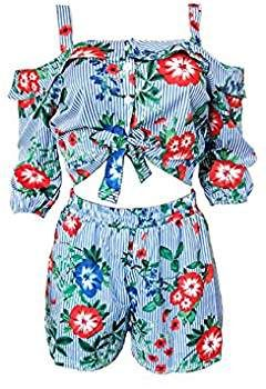 b4d3f2feac64 Womens Summer Two Pieces Outfits Bodycon Ruffled Floucing Crop Top Hot Pants  Set Club Shorts Boho Maxi Party Club Dress White XL at Amazon Women's  Clothing ...