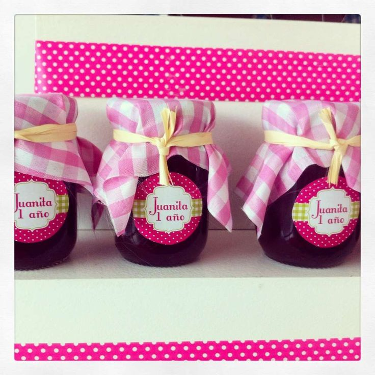 Jam jar party favors at a Polka Dot girl birthday party! See more party planning ideas at CatchMyParty.com!