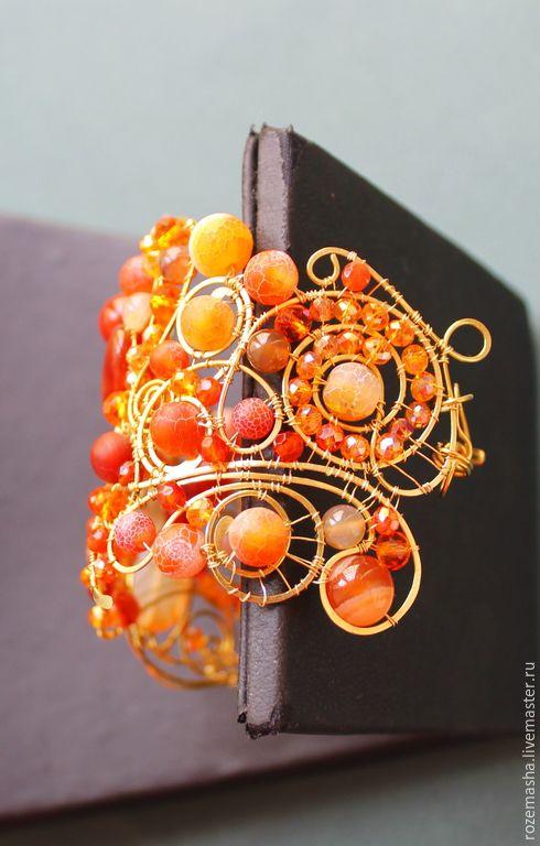 Купить Браслет Сердоликовый Полдень - оранжевый, комплект, витое, wire wrap, романтичное, винтаж, модерн