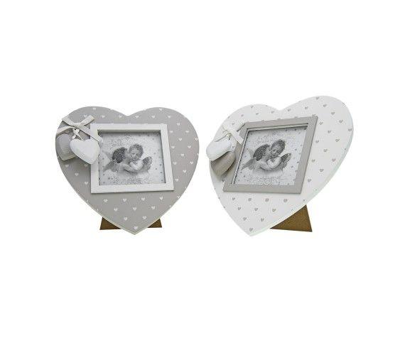 9,52 € - Portafoto in legno a forma di cuore con 2 cuoricini, stile Shabby Chic, simpatica idea per bomboniera matrimonio, dimensioni cm. 18.