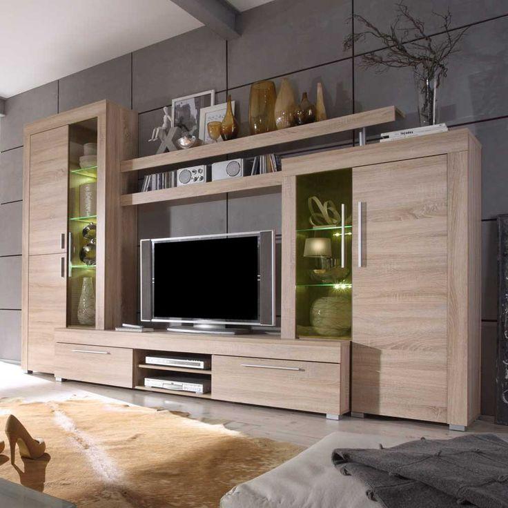 schrankwand in eichefarben modern 5 teilig wohnzimmerschrank schrankwandwohnwandanbauwand