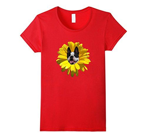 Women's Boston Terrier Flower T Shirt Small Red Pup Country