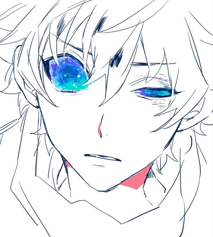 anime guy monochromatic colors boy white blue eyes cool simple