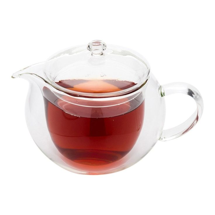 Personalized heat resistant borosilicate double wall glass teapot