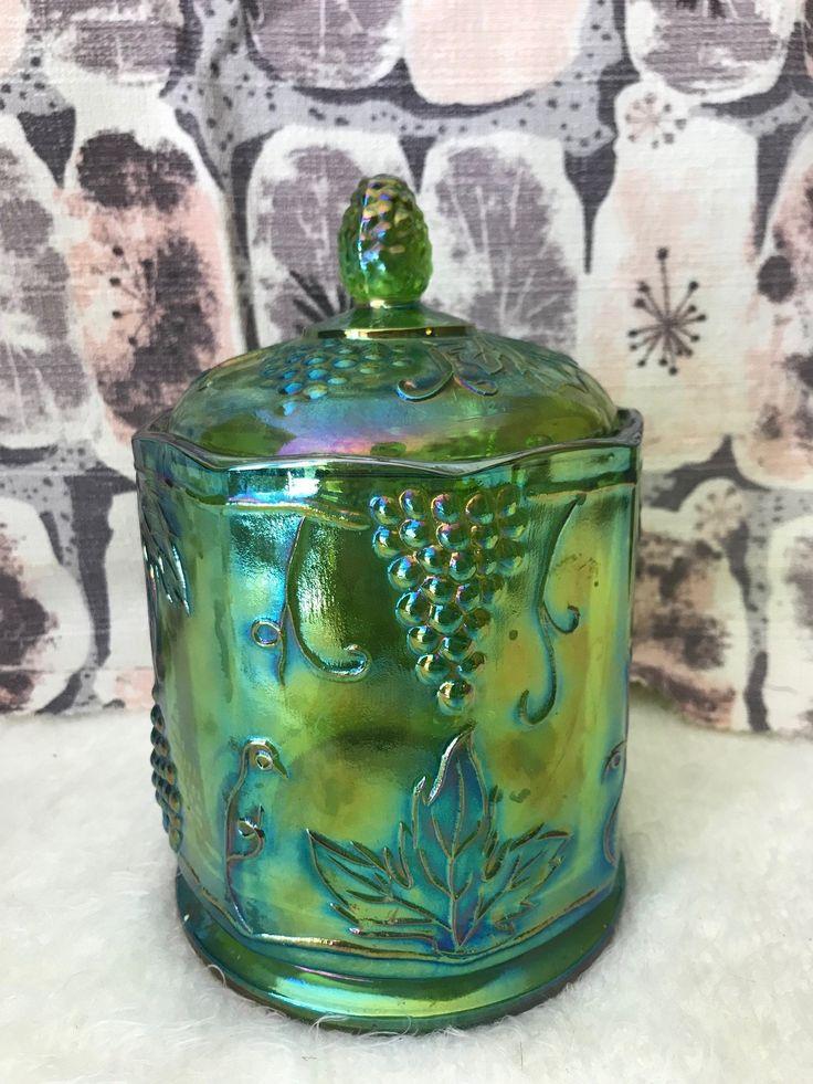 Vintage Lime Green Carnival Glass Sugar Canister Biscuit
