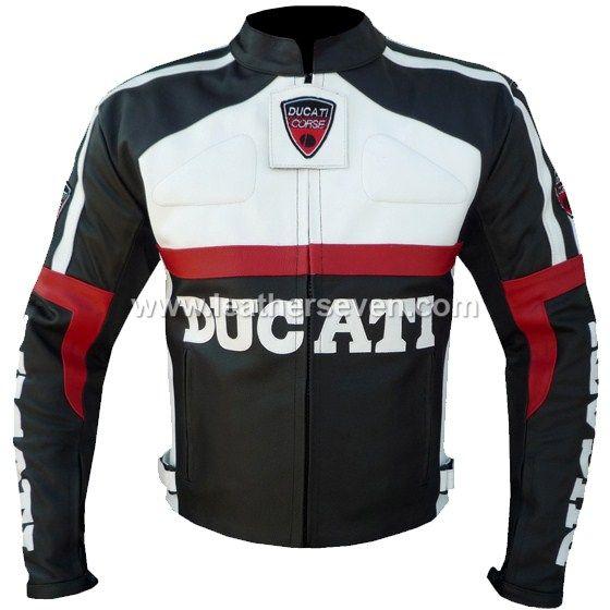 Ducati Black Leather Motorbike Biker Racing Jacket