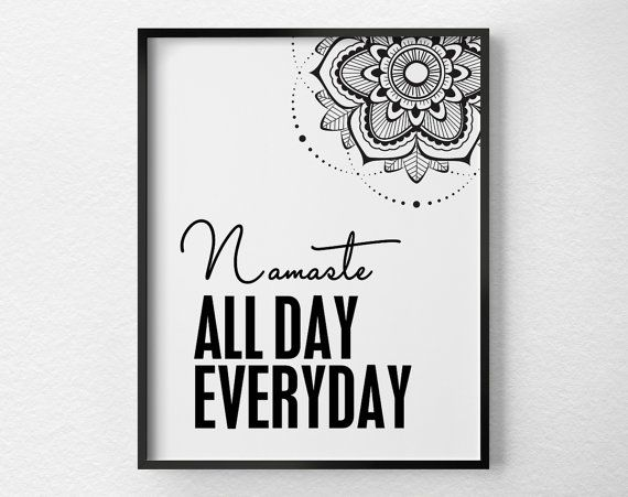 Namaste Print, Namaste Art, Yoga Print, Yoga Studio Decor, Black and White Art, Yoga Art, Namaste Poster, Yoga Poster, Yoga Gift, 0364