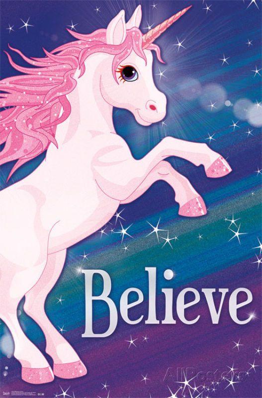 Rainbow Unicorn Poster Believe Print, 22x34