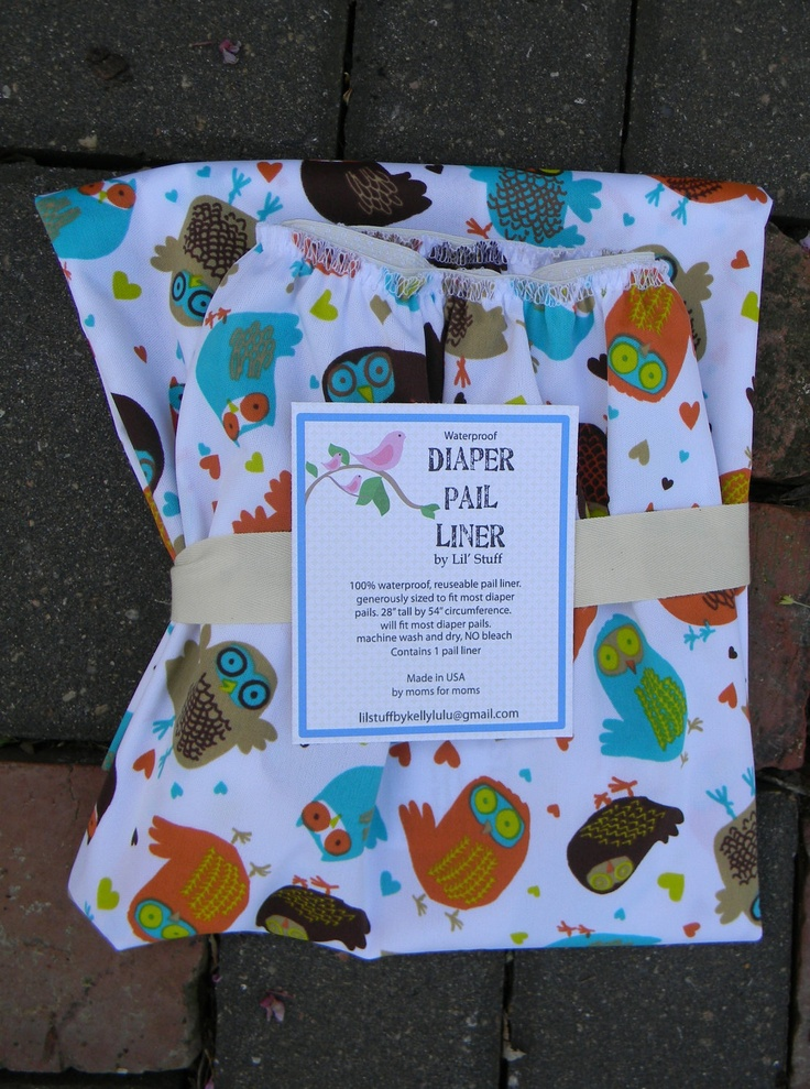 Print Cloth Diaper Pail Liner -  waterproof washable and smell proof. $21.00, via Etsy.