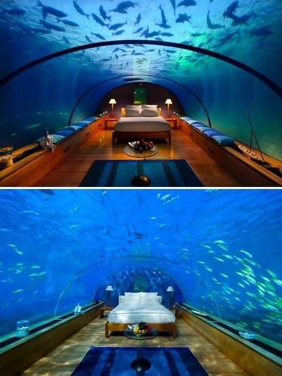 sleep underwater in maldivesBuckets Lists, Favorite Places, Underwater Hotels, Perfect Bedrooms, Amazing Places, Sleep Underwater, Bedrooms Inside, Vacations Travel, Underwater Bedrooms