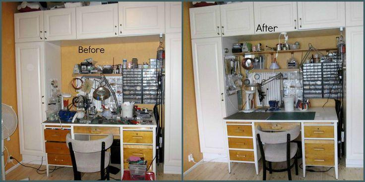 Työpiste 1 Design Arja Aalto. Tilannekuvat ennen ja jälkeen järjestelyn.